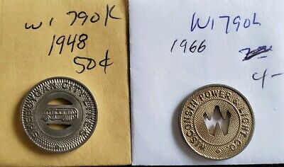 2 Wisconsin Transit Tokens WI790K AND WI790L