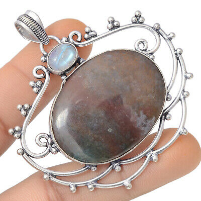 Superb Red Moss Agate Gemstone 925 Sterling Silver Jewelry Pendant