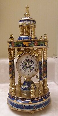 Cloisonne Shelf Mantle Clock Chinese Vintage Beautiful Case Ornate Blue Gold Red