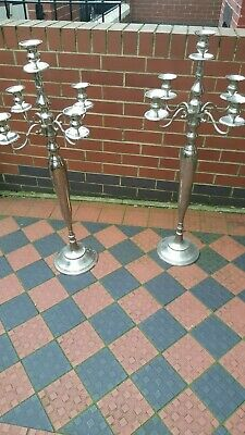 Vintage ? Pair Of Floor Standing Silver Colour Candlesticks Ideal Wedding/Church