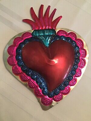 """Mexican Flaming Sacred Heart Tin Art Handmade Painted Milagro 6""""x8"""""""