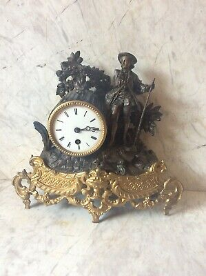 ANTIQUE FRENCH CLOCK GILDED SPELTER/ ORMOLU c1880 FOR SPARES AND REPAIRS
