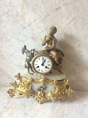 Antique French Clock Ormolu/ Gilded Spelter  Circa 1880 For Spares And Repairs
