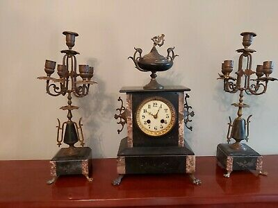 Antique Clock Garniture Mantle Clock Set 19Th Century