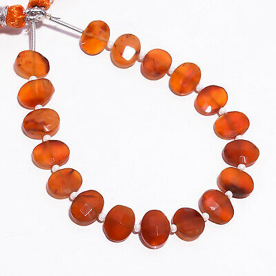 """36.65 Ct. Natural Carnelian Gemstone Oval Faceted Beads Strand 9X7 mm 6"""" PB-5784"""