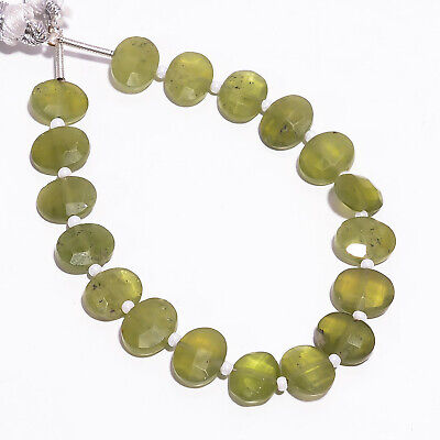 """43.85 Ct Natural Vesuvianite Gemstone Oval Faceted Beads Strand 9X7 mm 6"""" PB5781"""