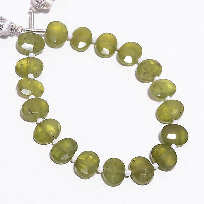 """46.45 Ct Natural Vesuvianite Gemstone Oval Faceted Beads Strand 9X7 mm 6"""" PB5780"""