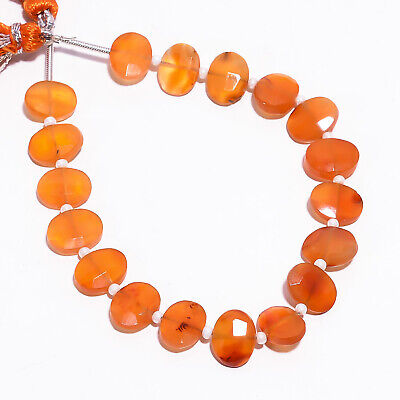 """35.45 Ct. Natural Carnelian Gemstone Oval Faceted Beads Strand 9X7 mm 6"""" PB-5783"""