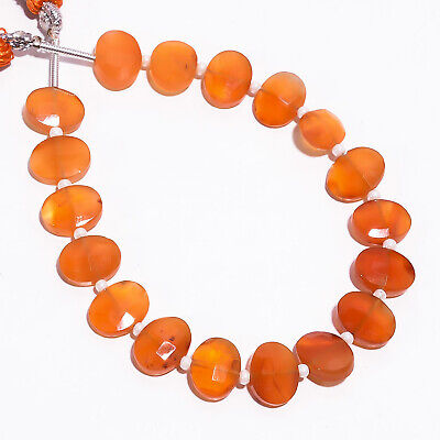 """39.15 Ct. Natural Carnelian Gemstone Oval Faceted Beads Strand 9X7 mm 6"""" PB-5785"""