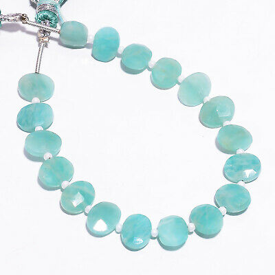 """37.55 Ct. Natural Amazonite Gemstone Oval Faceted Beads Strand 9X7 mm 6"""" PB-5790"""