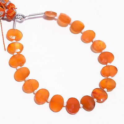 """36.55 Ct. Natural Carnelian Gemstone Oval Faceted Beads Strand 9X7 mm 6"""" PB-5786"""