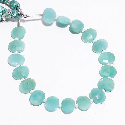 """35.35 Ct. Natural Amazonite Gemstone Oval Faceted Beads Strand 9X7 mm 6"""" PB-5788"""