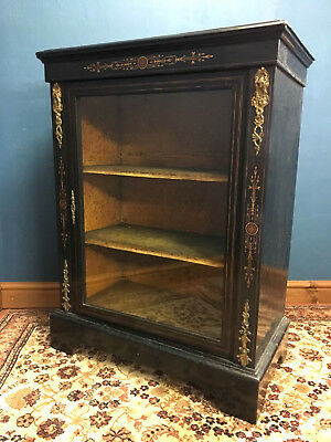 Victorian Ebonised Metal Mounted and Inlaid Glass Front Pier Cabinet