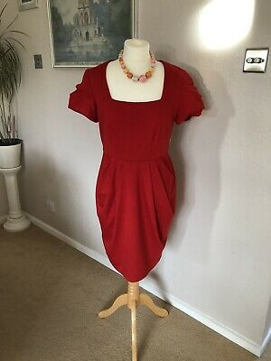 M&S Marks & Spencer Limited Collection red smart Formal Occasion Lined dress 14
