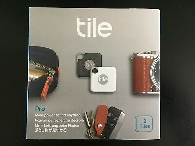 TILE PRO 2 PACK Bluetooth Tracker, Replaceable Battery, 1 Black and 1 White