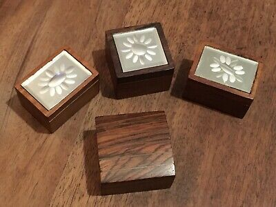 Small Vintage Teak Trinket Boxes X3 #13081904