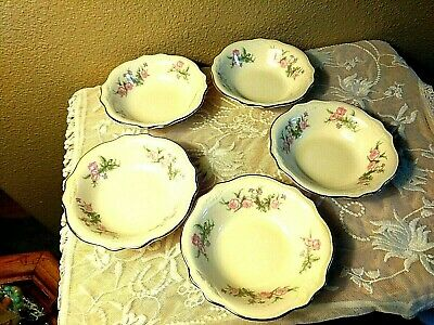 Vtg Lot 5 Homer Laughlin Virginia Rose Fruit Dessert Dishes Bowls Gold Rim Trim