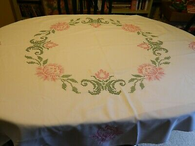 Vintage Round White Tablecloth Cross Stitch Pink Roses