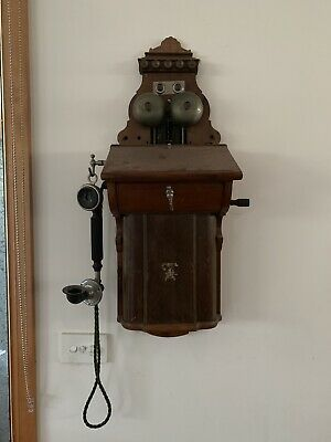 Wonderful Antique Ericsson Timber And Brass Wall Telephone Original C1910