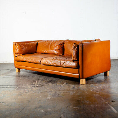 Mid Century Danish Modern Sofa Couch Tan Leather Worn 2 Seater Settee Brown Mcm