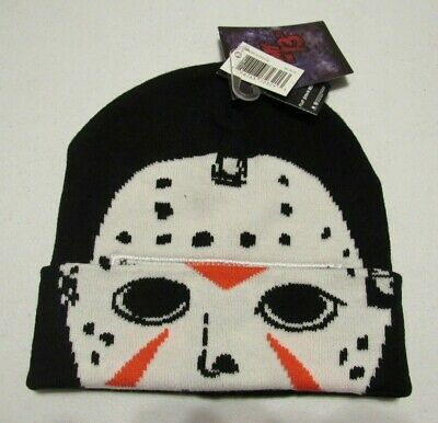 Friday the 13th Jason Voorhees Hockey Mask Flip Down Beanie Hat NWT NEW