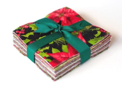 "Poinsettia & Pine by Maywood 5"" charm pack Christmas cotton fabric quilt 104 pcs"