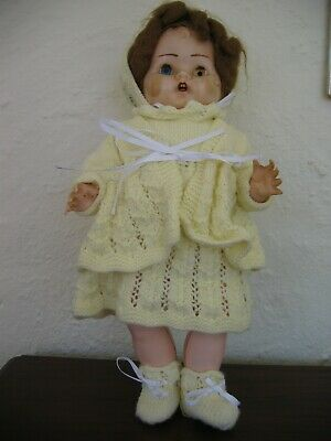 Vintage Cherub Doll Made In Australia - 38Cm - Dressed In Yellow Knit