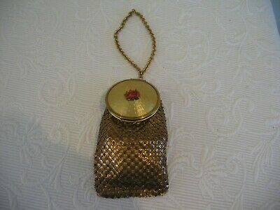 Art Deco Mesh Purse with Guilloche and Hand Painted Lid Compact and Mirror