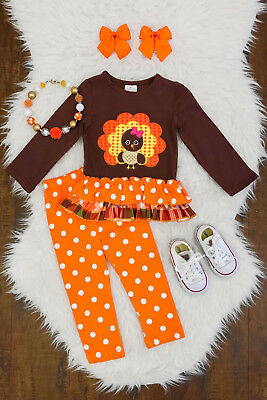 NEW Boutique Girls Pony Horse Pink Ruffle Tunic Dress /& Leggings Outfit Set
