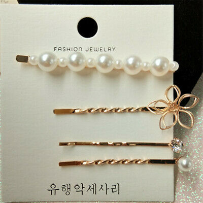 1set Girls Hair Clip Fashion Pearl Bobby Pin Lovely Hairpin Cute Accessories