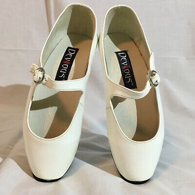 Devious Ballet-08 Size 8 White Patent Mary Jane Single Strap Ballet Heels