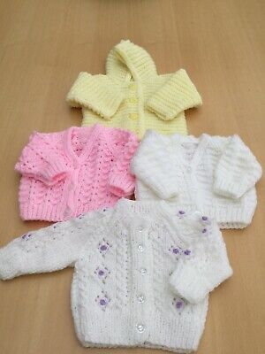 W@W Hand Knitted Newborn Baby Girls Cardigans  STUNNING See All Pics