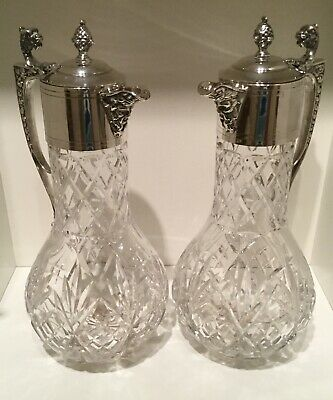 Pair (2) Quality Silver Plate EPNS and Cut Glass Crystal Claret Jugs