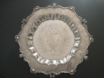 Continental Jewelled Sterling Silver Salver Footed Tray by Masriera & Carreras
