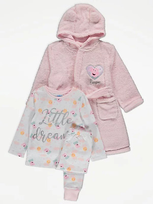 Peppa Pig Girls Unicorn Pyjamas and Dressing Gown 3 Piece Set 1 to 6 Years BNWT