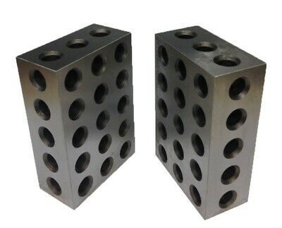"1 Matched Pair Ultra Precision 2-4-6 Blocks 23 Holes .0002"" Machinist"
