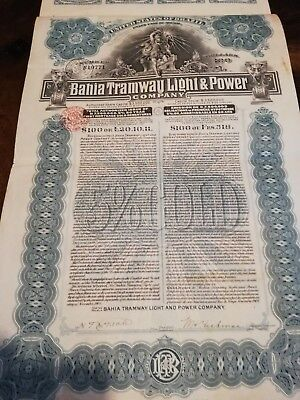 1905 United States of Brazil: Bahia Tramway Light & Power Gold