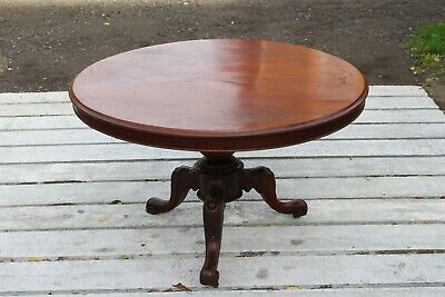 Round Mahogany table with turned pedestal and carved legs late C19