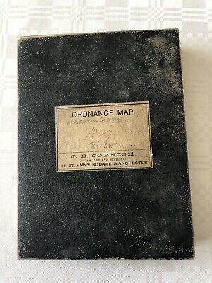 1899 Old OS Ordnance Map Harrogate Ripon Dissected, Mounted On Linen  G C