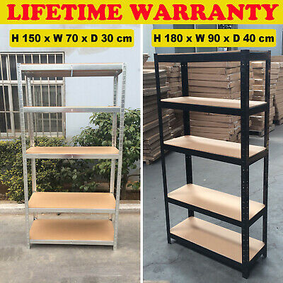 5 Tier Metal Shelving Bays Unit Boltless Racking Shelves Heavy Duty Storage Shed