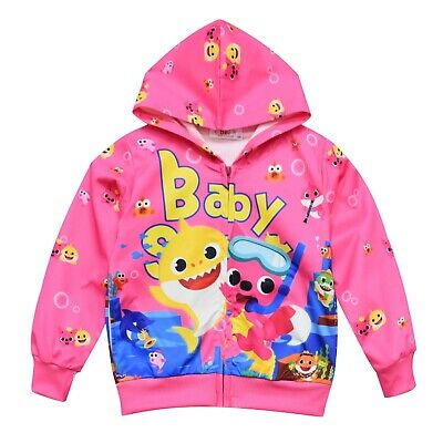 BABY SHARK girls baby toddler hoodie top thin jacket size 2-6 au stock
