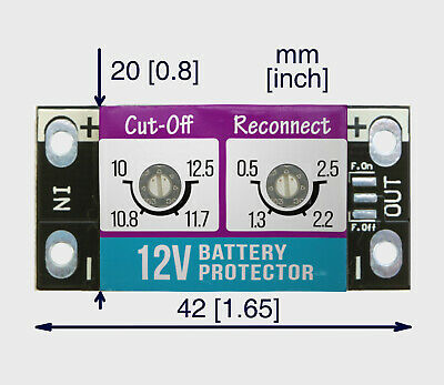 Low voltage cut-off for 12V batteries. Max 5A