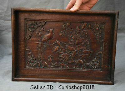 "14"" Old Chinese Huanghuali Wood Hand Carved Dynasty Flower Birds Plate Tray"