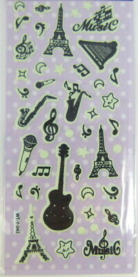 Music Themed Glow in the Dark Luminous Sticker - Music Eiffel Tower