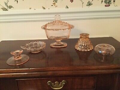 Vintage Pink Depression Glass Covered Candy Dish Compote + 4 Candleholders