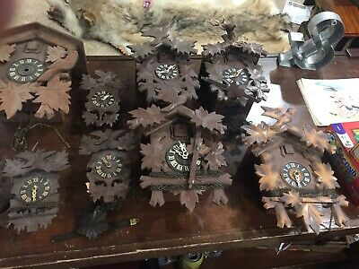 Vintage Lot Of 8 Black Forest & German Cuckoo Clocks And Parts