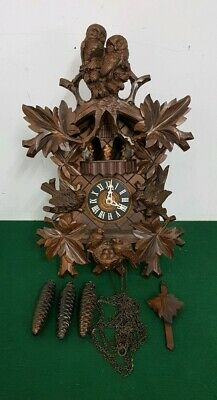 Large Carved Wooden Owl & Bird Themed Swiss 2 Tune Cuckoo Clock Gueissaz-Jaccard