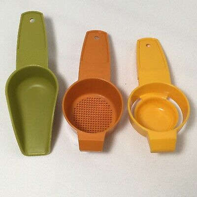 Tupperware Mini Scoop #878 Egg Yolk Separator #779 Mini Strainer #879