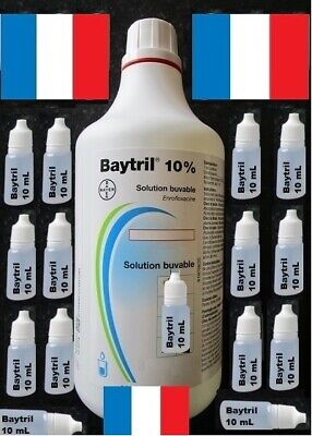 20 mL Baytril 10% OraL  Antibiotique Soigner les Animaux Domestiques & Sauvages.