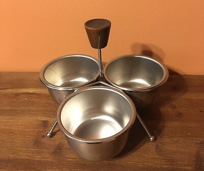 Vintage 1950's Condiment Server ~ Stainless Steel Bowls w/Wood Handled Caddy